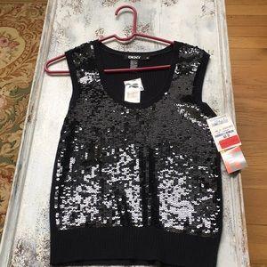 DKNY Black Sequin sleeveless top. NWT